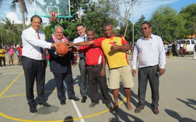 JICA and KCH deliver basketball and volleyball court to Joyce Bay community