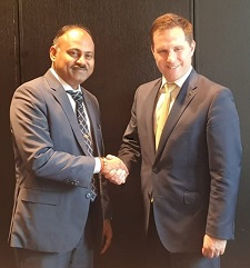 Minister Muthuvel meets Australian Minister Alex Hawke on SOE reform.
